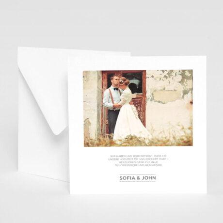 Danksagungskarte Bauhaus mit weiß Briefumschlag