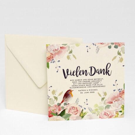Danksagungskarte Duvemåla boho mit briefumschlagt