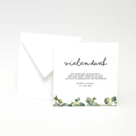 Danksagungskarte Eucalyptus mit weiße Briefumschlag seite 1