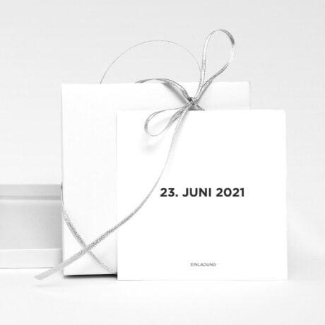 Einladungskarte Bauhaus Karton mit silbernem Band
