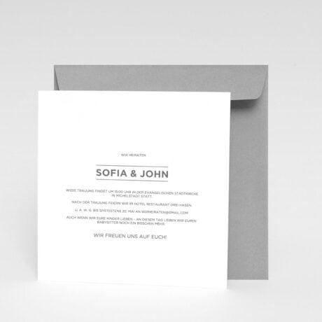 Einladungskarte Bauhaus grau Briefumschlag