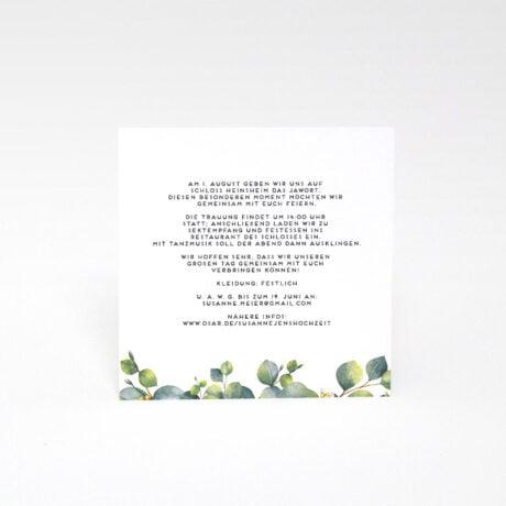 Einladungskarte Eucalyptus Rückseite