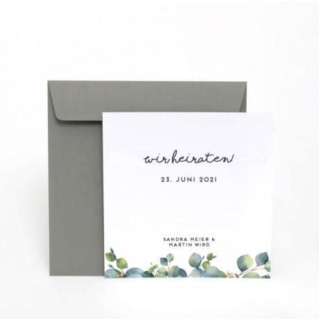 Einladungskarte Eucalyptus mit grau Briefumschlag