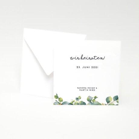 Einladungskarte Eucalyptus mit weiß Briefumschlag