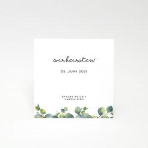 Einladungskarte Einladungskarte Eukalyptusblättern