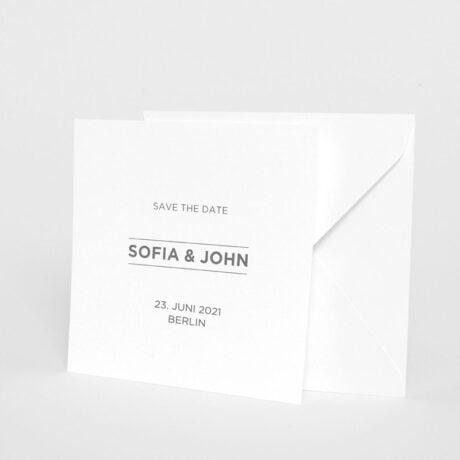 Save the date Karte Bauhaus weiße Briefumschlag