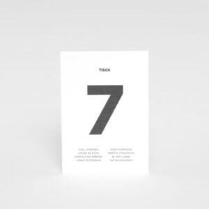 Tischnummerierung mit Gastnamen Bauhaus