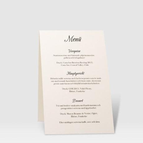 Tischkarte mit Menüaufdruck Askersund Ivory 2