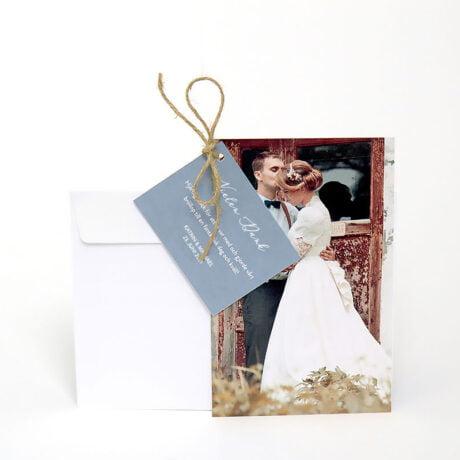 Danksagungskarte mit weiß Briefumschlag Happy