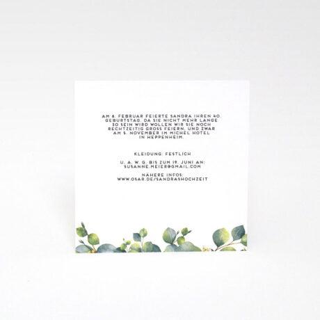 Einladungskarte Fest Eucalyptus seite 2