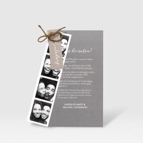 Einladungskarte Happy mit Fotostreifen farbe Gray