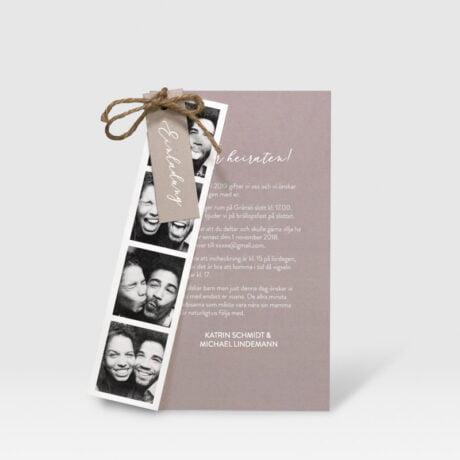 Einladungskarte Happy mit Fotostreifen farbe Pink