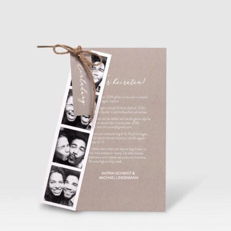 Einladungskarte Happy mit Fotostreifen farbe beige