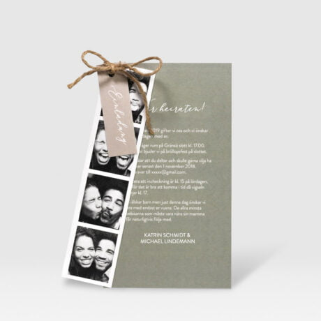 Einladungskarte Happy mit Fotostreifen farbe beige Sage Green