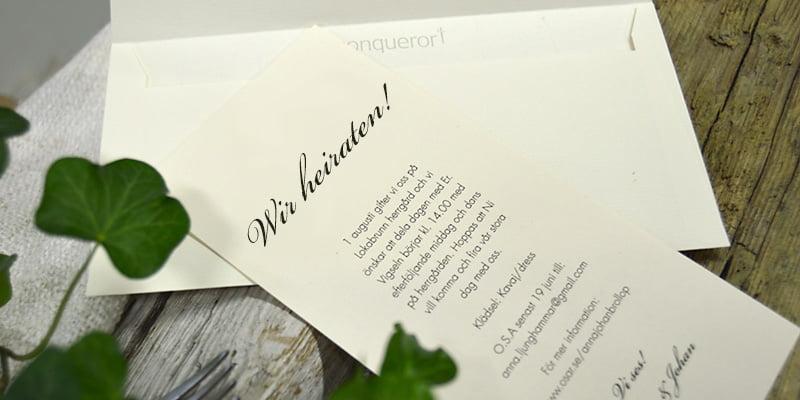 Einladungskarte mit naturweiße Briefumschlag Stockholm Ivory dekoration