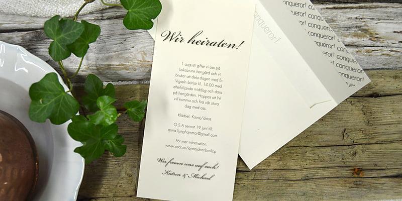 Einladungskarte mit naturweiße Briefumschlag Stockholm Ivory