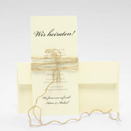 Einladungskarte mit naturweiße Briefumschlag und Juteband Stockholm Ivory