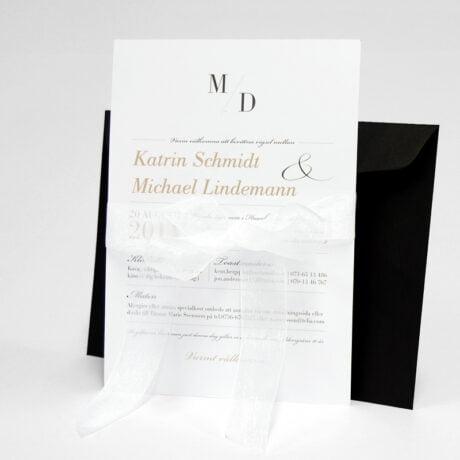 Einladungskarte mit schwarz Briefumschlag Vaxholm mit band seite 2