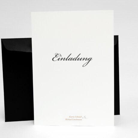 Einladungskarte mit schwarz Briefumschlag Vaxholm seite 1