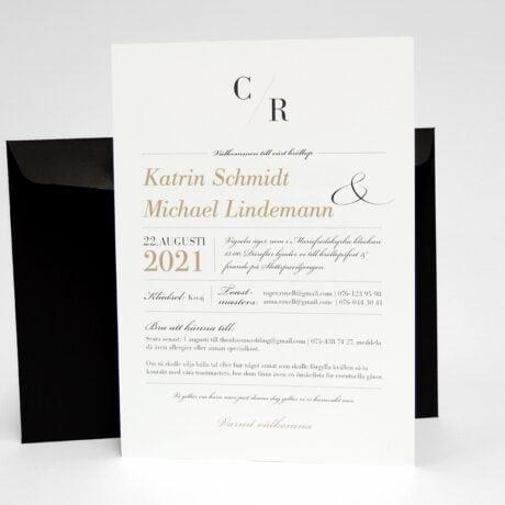 Einladungskarte mit schwarz Briefumschlag Vaxholm seite 2