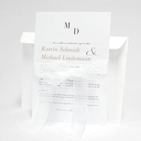 Einladungskarte mit weiß Briefumschlag Vaxholm mit band vorderseite