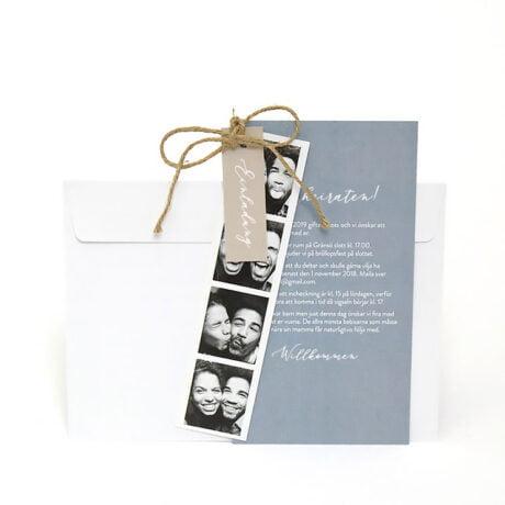 Einladungskarte mit weiß Briefumschlag und mit Fotostreifen