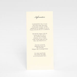 Informationskarte für die Hochzeitskarte Stockholm Ivory