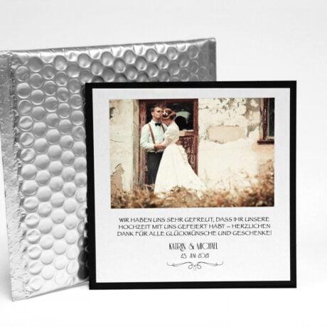 Danksagungskarte Silber für Hochzeiten mit Luftpolsterumschlag Silber