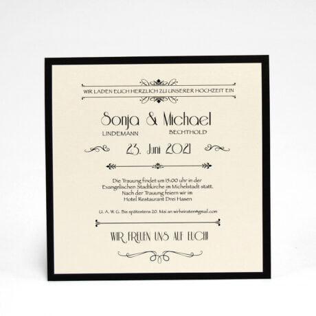 Einladungskarte Hochzeit gold seite 2