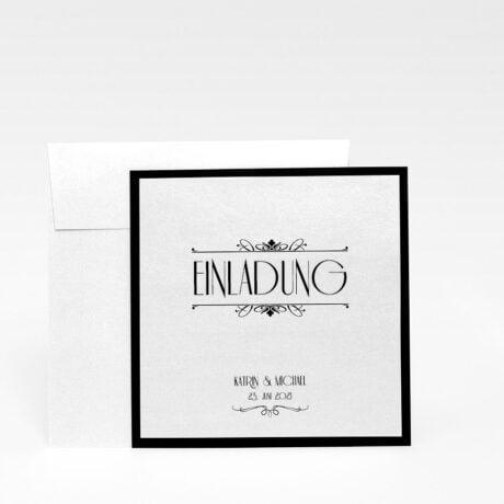 Einladungskarte Silber Hochzeit mit Briefumschlag