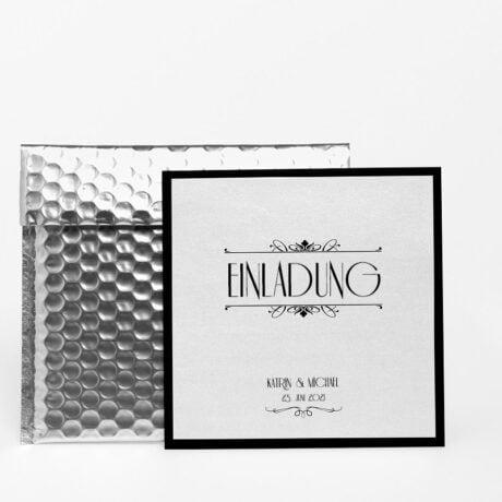 Einladungskarte Silber Hochzeit mit Luftpolsterumschlag Silber