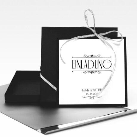 Einladungskarte Silber Hochzeit mit Schwarze Schachtel und Folienumschlag Kleiner silberfarbener