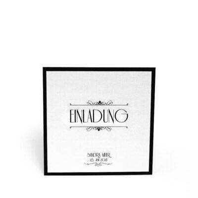 Einladungskarte fest Silber seite 1