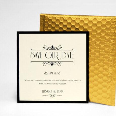 Save the date Karte Gold, mit gold Luftpolsterumschlag