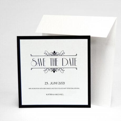 Save the date karte Silber Hochzeit mit Briefumschlag