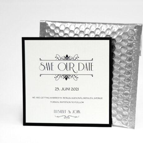 Save the date karte Silber Hochzeit mit Luftpolsterumschlag Silber