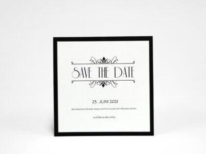 Save the date karte Silber Hochzeit seite 1