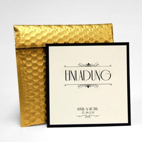 einladung gold Hochzeit mit Luftpolsterumschlag